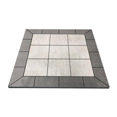 "NY Hearth Pewter Rock Tile Hearth Pad- Square Wall, 36""x36"""