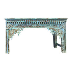 Mogul Interior - Consigned Antique Indian Hand Carved Blue Console Hall Table End Sofa Table - Console Tables