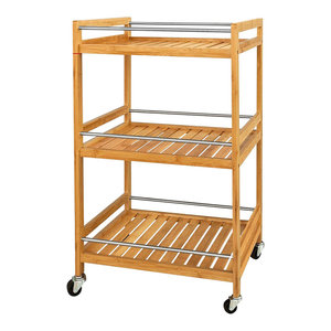 Modern Serving Trolley Cart, Natural Bamboo Wood With 3 Open Shelves