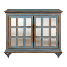 Home Fare Blue Bevel Mirror Front Accent Chest