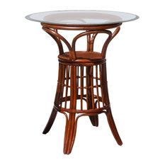"Universal 36"" Round Tempered Bevel Edge Glass Pub Table, Sienna"