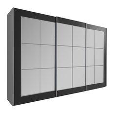 Bilbao Mirrored Wardrobe, Black, Large