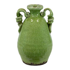 Ceramic Round Bellied Tuscan Vase with 2 Looped Handles, Yellow Green