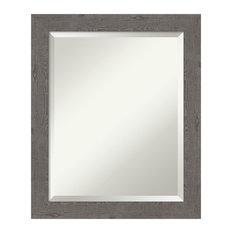 "Wall Mirror Bathroom Vanity Mirror Rustic Plank Grey Narrow: Outer Size 19 x 23"""
