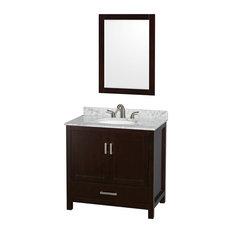 "Sheffield 36"" Espresso Single Vanity, Carrera Marble Top, Undermount Oval Sink"