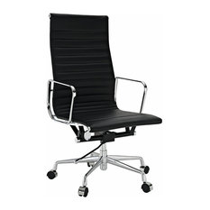 Modern Ribbed High Back Office Chair, Leather, Black