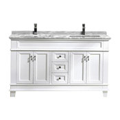 """Moreno Fayer 60"""" White Freestanding Vanity With Carrera Marble Top, Double Sink"""