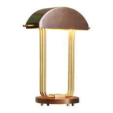 Elegant Dome Shade Desk Table Lamp Antique Brass Gold Art Deco Modern Open