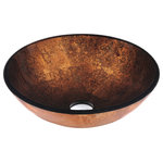 VIGO Industries - VIGO Glass Vessel Bathroom Sink, Russet Glass - The Vigo Russet glass vessel bowl features the perfectly combined colors of brown and orange to provide an exciting and balanced light to your bathroom.