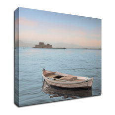 """Mediterranean Boat #1"" by Alan Blaustein, Print on Canvas, 18""x18"""