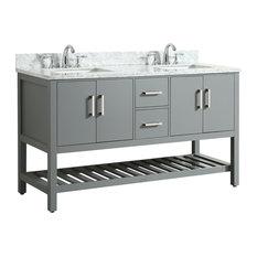 Flora Gray Bathroom Vanity With Marble Top, 61''