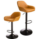 Glitzhome,LLC - Orange Leatherette Bar Stool, Set of 2 - Bring the sophisticated look of leather seating to your dining space or cooking area. The handmade faux leather is soft to the touch while its curved design provides comfort. Supported with pneumatic adjustable legs for an ergonamics and high quality design.