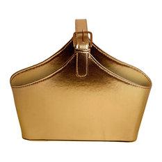 WALD IMPORTS   Wald Imports Gold Faux Leather Decorative Storage/Organizer  Basket   Storage Bins