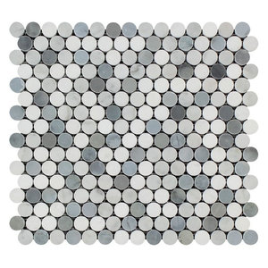 Thassos Penny Round Mosaic, Carrara, Thassos, Blue-Gray, Honed, 10 SqFt