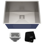 """Kraus USA - Kraus Undermount Kitchen Sink, Stainless Steel, Accessories, 24"""" - Create a high-end kitchen with the KRAUS Pax Series, featuring sleek modern designs with zero-radius corners. Wear-resistant satin finish offers a beautiful sheen, and easily wipes clean for minimal maintenance."""