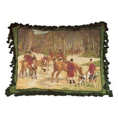 Gathering Hunters Petit Point Pillow, Needlepoint Pillow, Horse Pillow, , Huntin