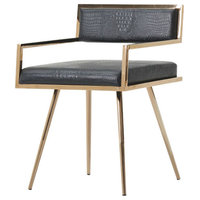 Modrest Rosario Modern Black and Rosegold Dining Chair