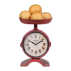 Two Sided Red Metal Kitchen Scale Shaped Clock