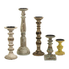 """Imax 5544-5 Set 5 Kanan Wood Candleholders In Distressed Finishes 6""""x5""""x19"""""""
