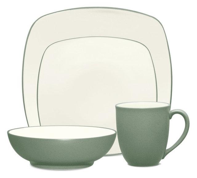 Noritake Colorwave Green Square 4-Piece Dinnerware Set, Set of 12 ...