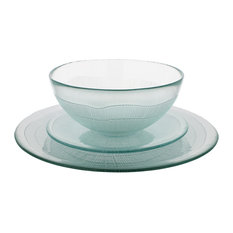 French Home Recycled Glass Dinner Set, Ice Clear