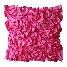 Euro Throw Fuchsia Pink Euro Bed Pillow Sham Satin 24x24 Ruffles,Vintage Fuchsia