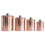 Pine + Ivy - Hammered Stainless Steel Canisters with Copper Finish - Set of 4 in the following sizes: