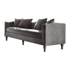 Benzara, Woodland Imprts, The Urban Port - Regal Gray Velvet Sofa With 4 Pillows - Sofas