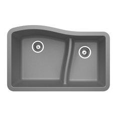 "Swan Granite Large/Small Double Bowl Undermount Kitchen Sink 32""x21"", Metallico"