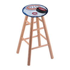 Oak Bar Stool Natural Finish With Montreal Canadiens Seat 30-inch