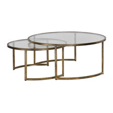 Set of 2 Bronze Gold Nesting Coffee Tables, Round Large Modern Minimalist