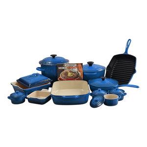 Le Creuset Marseille Blue 20 Piece Cookware Set with 4.5 Quart Round Dutch Oven
