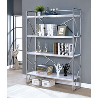 Four Shelf Metal Bookcase with Geometric Sides And Back Design, White and Silver