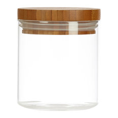 Glassery Airtight Glass Canister With Wood Lid, Small