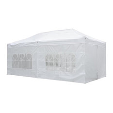 10'x20' Ez Pop Up Folding Market Wedding Party Tent Outdoor With Sidewall, White