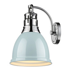 Duncan 1-Light Wall Sconce, Chrome With Seafoam Shade