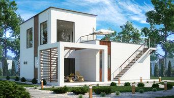 Двухэтажный дом хай-тек 226м2 П-0156