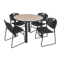 Kee 48-inch Round Breakroom Table Beige/ Black And 4 Zeng Stack Chairs Black