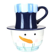 Snowman Soup Bowl Mug and Saucer, Blue