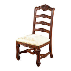 MBW Furniture   Solid Mahogany Ladder Back Gold Occasional Side Chair    Dining Chairs