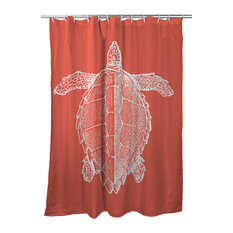 Vintage Sea Turtle Shower Curtain, White on Coral