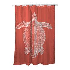 Vintage Sea Turtle Shower Curtain, Coral