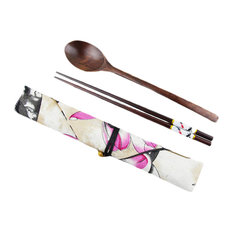 Japanese Style Wooden Chopsticks Spoon Cutlery Set Carry 3-Piece Tableware, C06