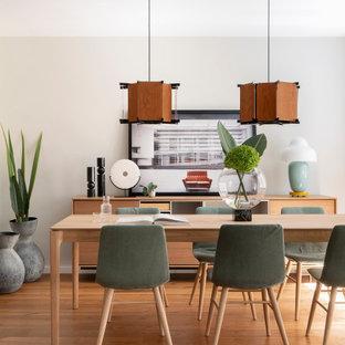 Imagen de comedor contemporáneo, abierto, sin chimenea, con paredes blancas, suelo de madera en tonos medios y suelo marrón