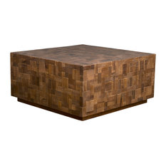 East at Main - East At Main's Rankin Brown Mosaic Wood Square Coffee Table - Coffee Tables