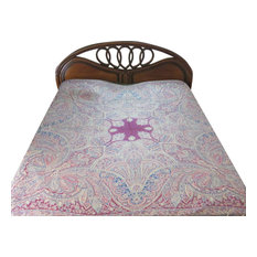 Mogul Interior - Pashmina Bedspreads Indian Bedding Blanket Pink Blue Paisley Reversible Throw - Throws