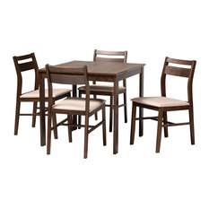 Albin Contemporary Beige Fabric Dark Walnut-Finished 5-Piece Dining Set