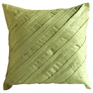 Green Textured Pintuck 35x35 Faux Suede Cushion Cover, Contemporary Apple Green
