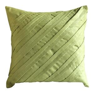 Textured Pintucks Green Faux Suede 65x65 Euro Pillow, Contemporary Apple Green