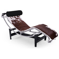 Gravity Cowhide Chaise Lounge, Brown, Tubular Pillow